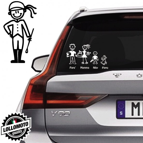 Ragazza Equitazione Vetro Auto Famiglia StickersFamily Stickers Family Decal