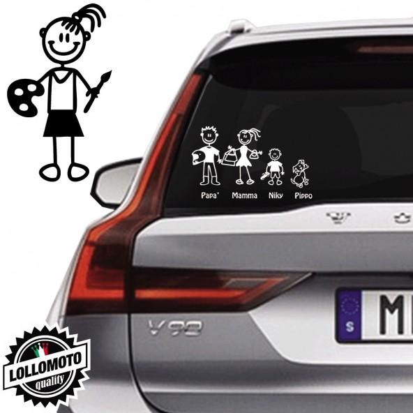 Bimba Pittrice Vetro Auto Famiglia StickersFamily Stickers