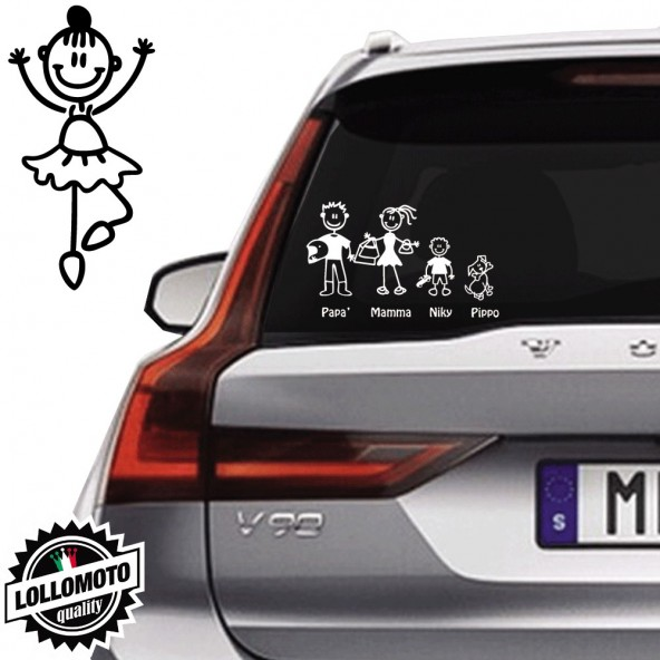 Bimba Che Danza Vetro Auto Famiglia StickersFamily Stickers Family Decal