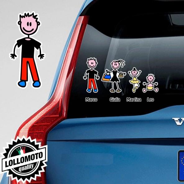 Papà Pantaloni Adesivo Vetro Auto Famiglia Stickers Colorati