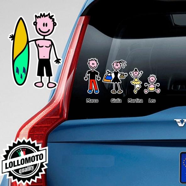 Papà Tavola Surf Adesivo Vetro Auto Famiglia Stickers Colorati
