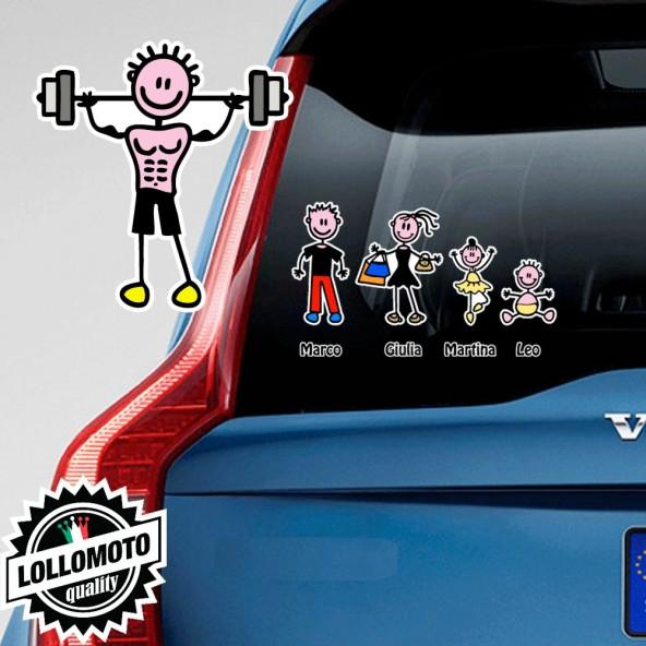 Papà Palestra Adesivo Vetro Auto Famiglia Stickers Colorati