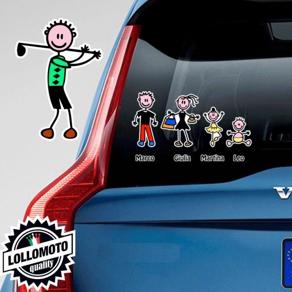 Papà Golf Adesivo Vetro Auto Famiglia Stickers Colorati Family