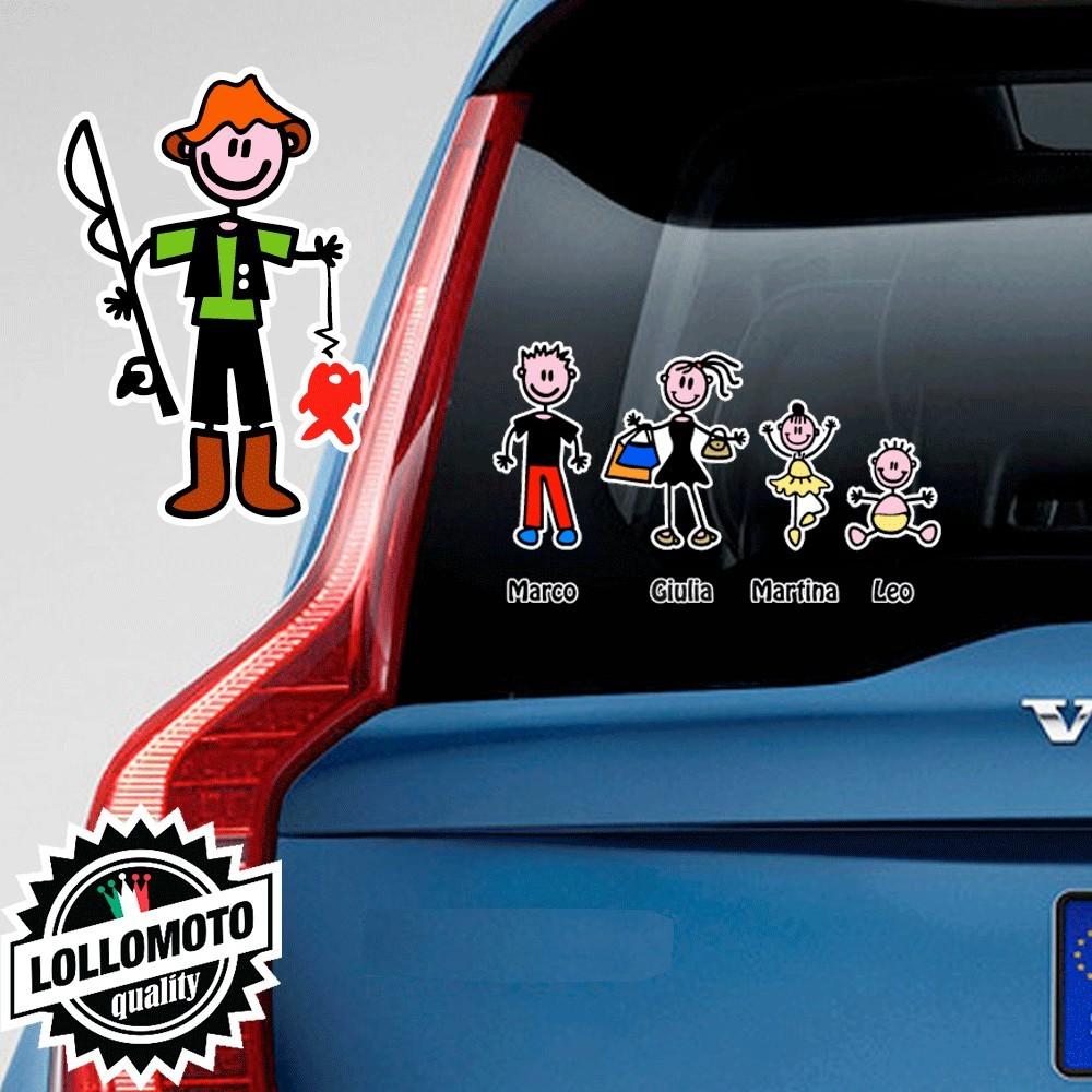 Papà Pescatore Adesivo Vetro Auto Famiglia Stickers Colorati
