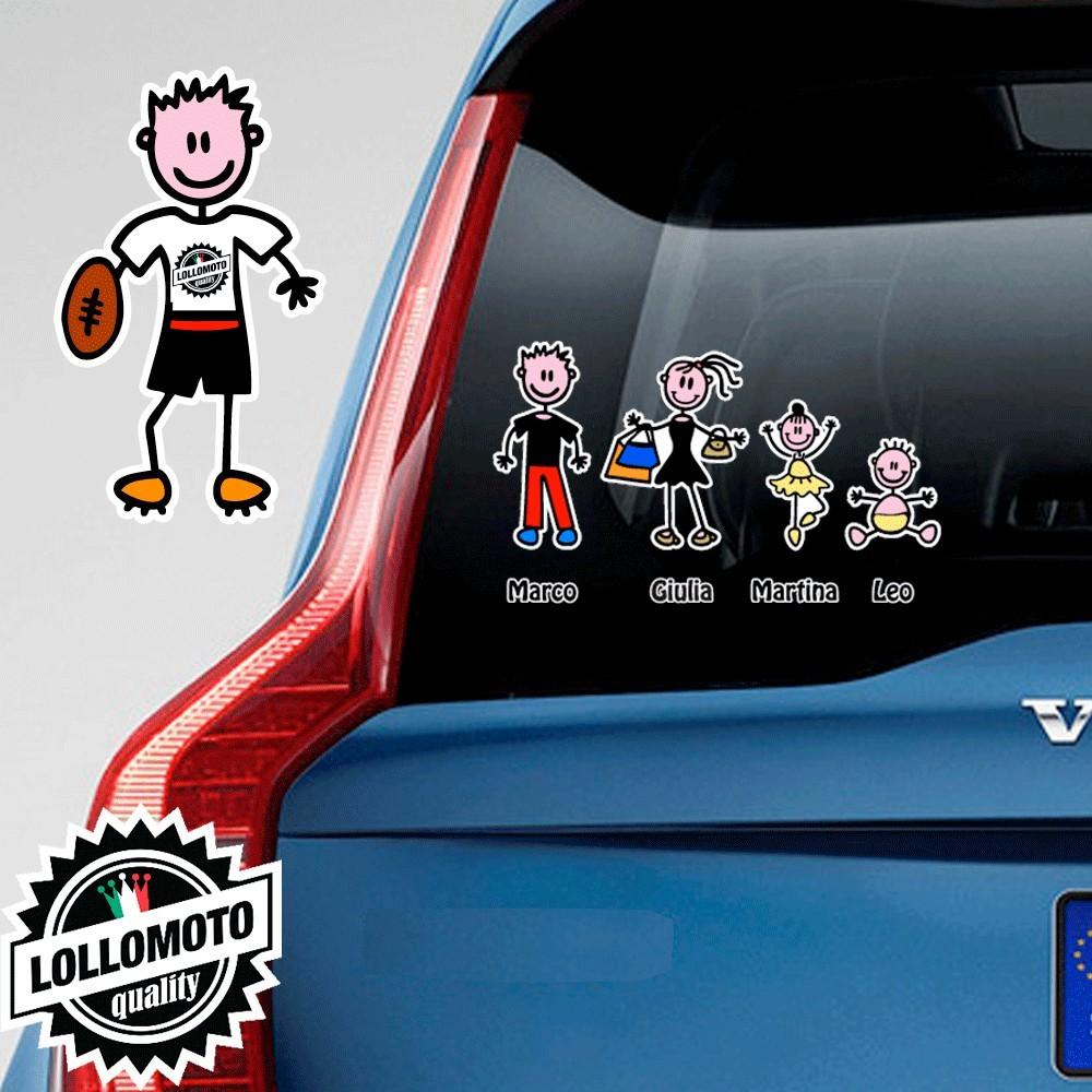 Papà Rugby Adesivo Vetro Auto Famiglia Stickers Colorati Family