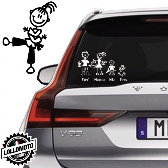 Bimba Karate Vetro Auto Famiglia StickersFamily Stickers Family