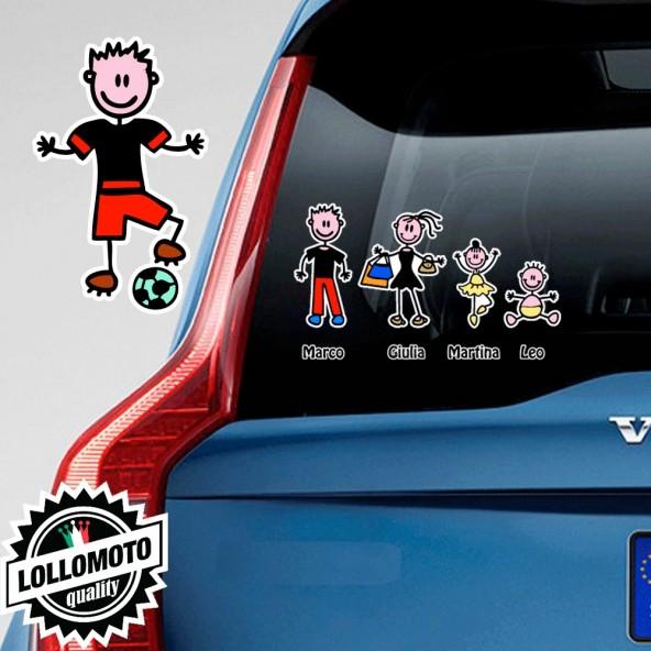 Papà Calciatore Adesivo Vetro Auto Famiglia Stickers Colorati Family Stickers Family Decal