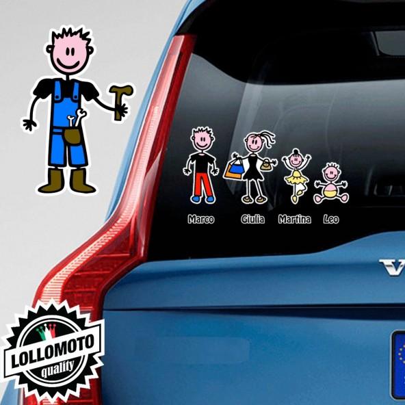 Papà Operaio Adesivo Vetro Auto Famiglia Stickers Colorati Family Stickers Family Decal