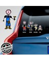 Papà Operaio Adesivo Vetro Auto Famiglia Stickers Colorati