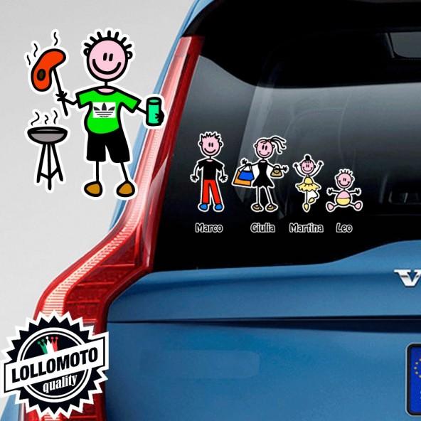 Papà Barbecue Adesivo Vetro Auto Famiglia Stickers Colorati Family Stickers Family Decal