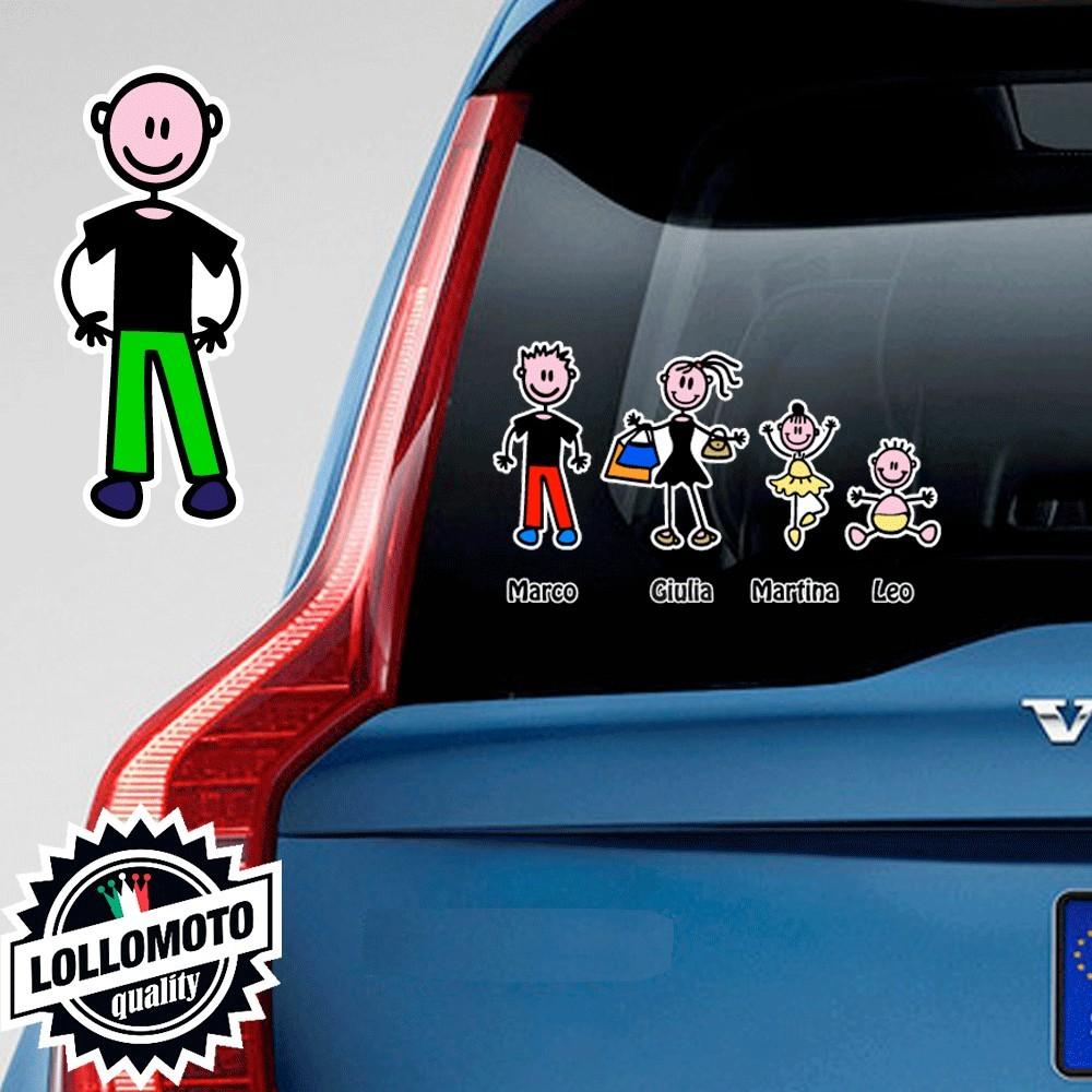 Papà Senza Capelli Adesivo Vetro Auto Famiglia Stickers