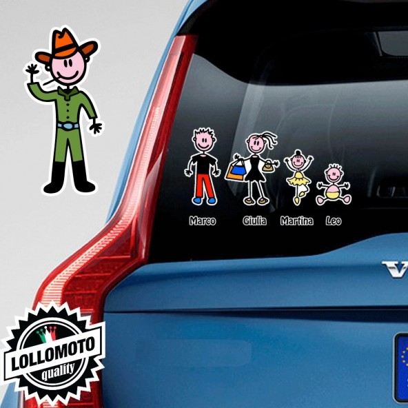 Papà CowBoy Adesivo Vetro Auto Famiglia Stickers Colorati