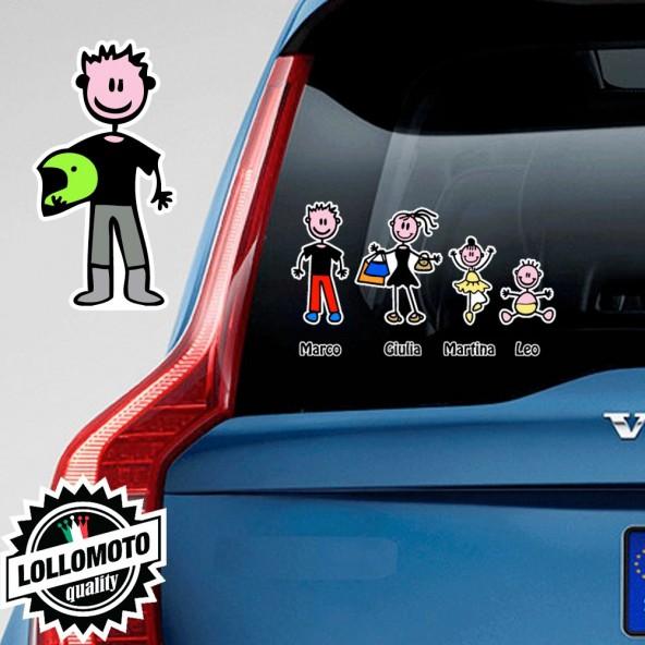 Papà Motociclista Adesivo Vetro Auto Famiglia Stickers Colorati