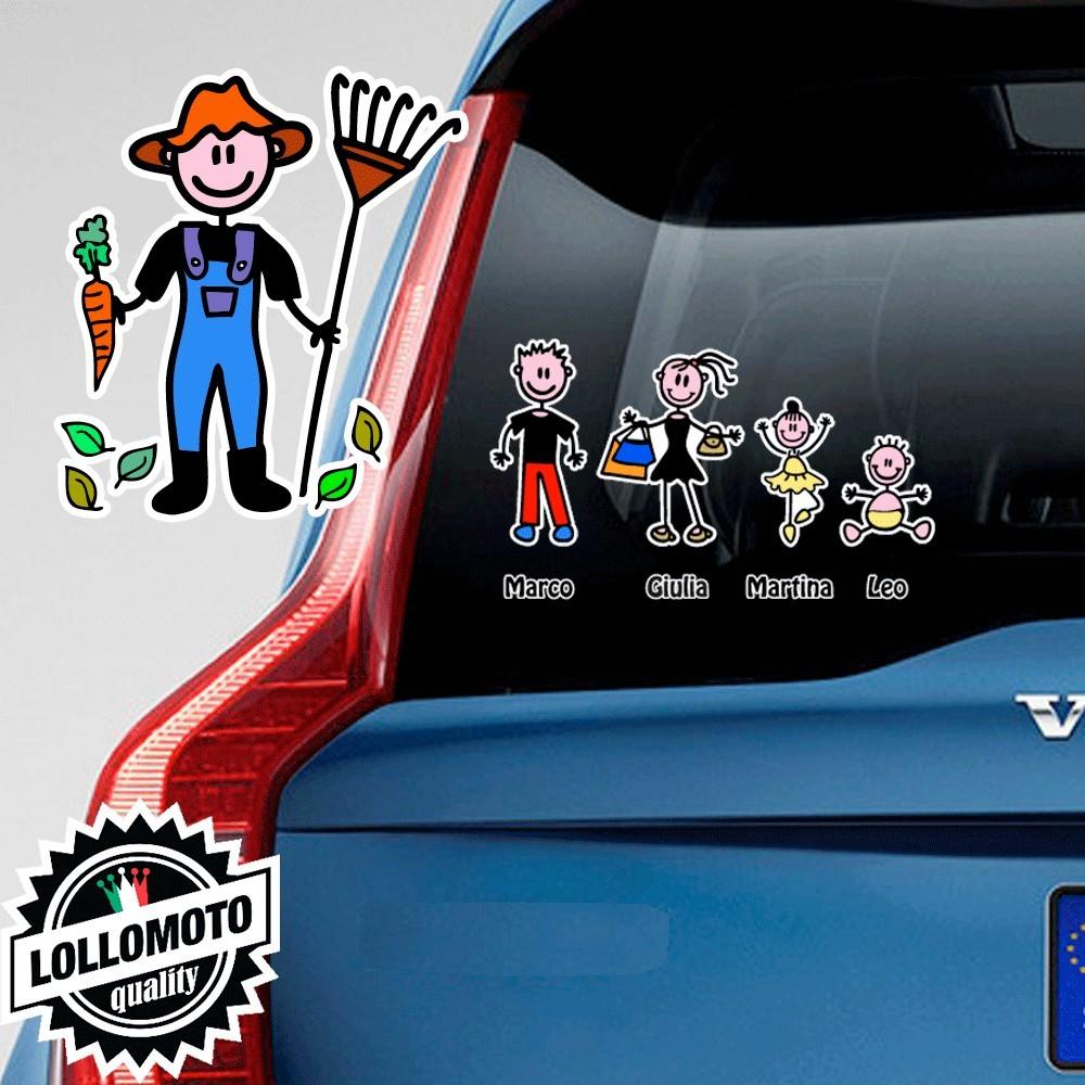 Papà Giardiniere Adesivo Vetro Auto Famiglia Stickers Colorati
