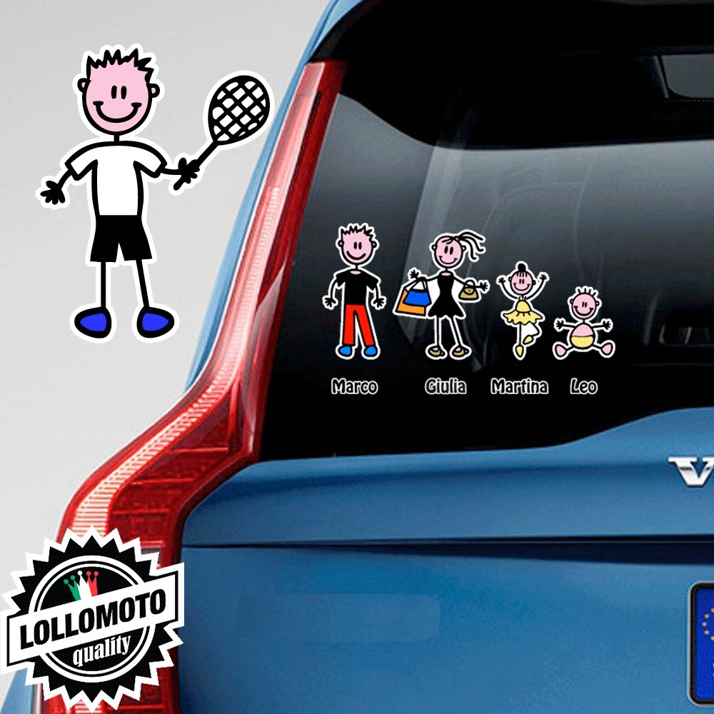 Papà Tennista Adesivo Vetro Auto Famiglia Stickers Colorati