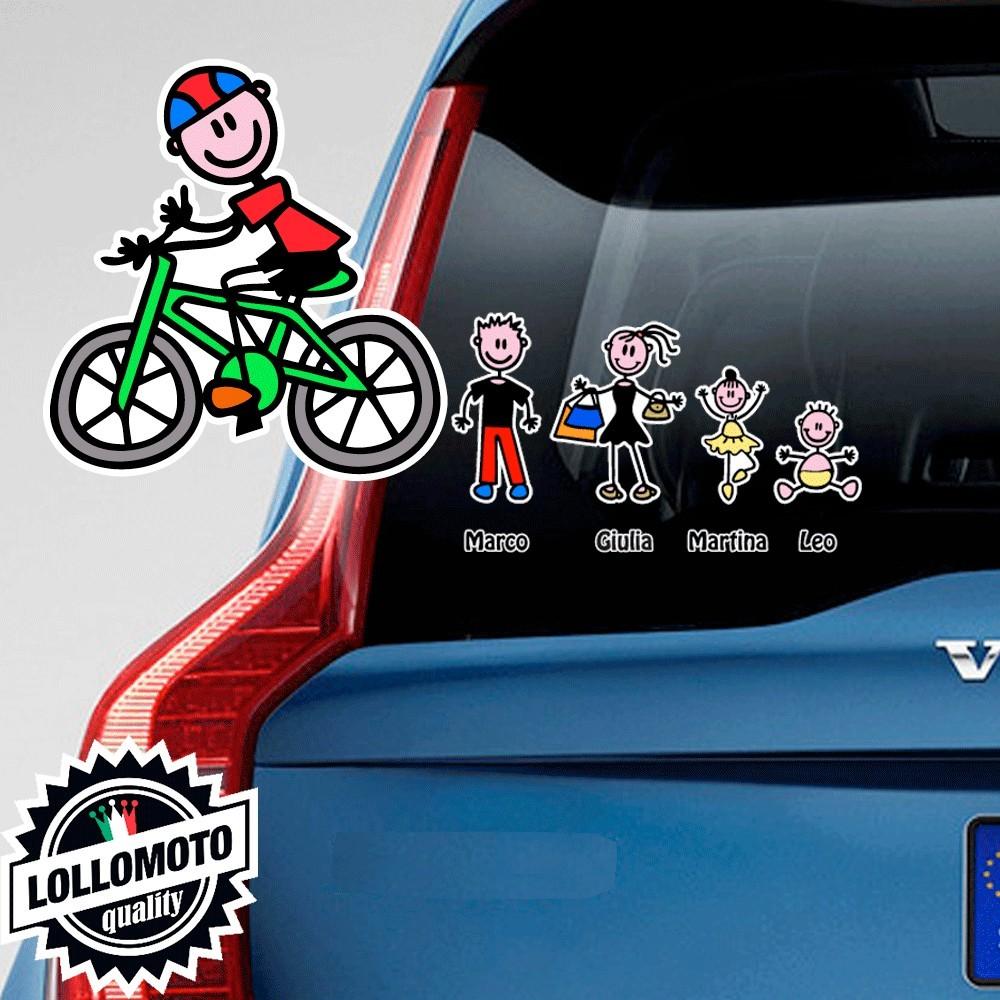 Papà Ciclista Adesivo Vetro Auto Famiglia Stickers Colorati