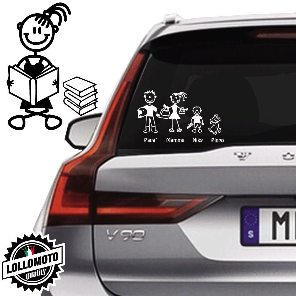 Bimba Con Libri Vetro Auto Famiglia StickersFamily Stickers