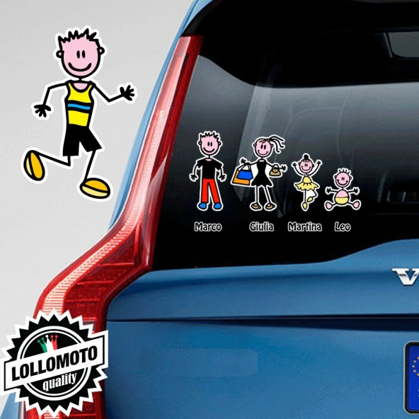 Papà Corridore Adesivo Vetro Auto Famiglia Stickers Colorati