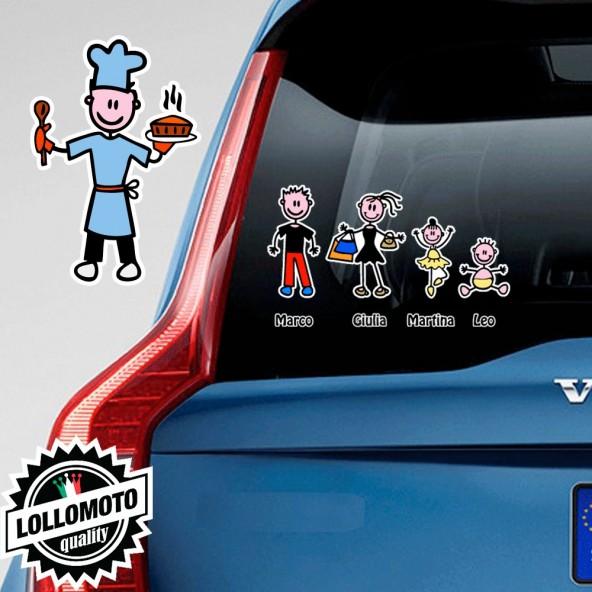 Papà Cuoco Adesivo Vetro Auto Famiglia Stickers Colorati Family
