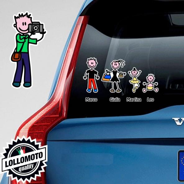 Papà Fotografo Adesivo Vetro Auto Famiglia Stickers Colorati Family Stickers Family Decal