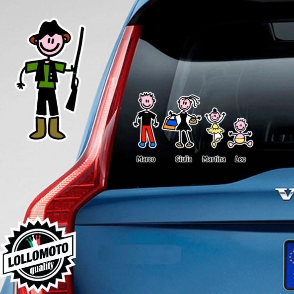 Papà Cacciatore Adesivo Vetro Auto Famiglia Stickers Colorati
