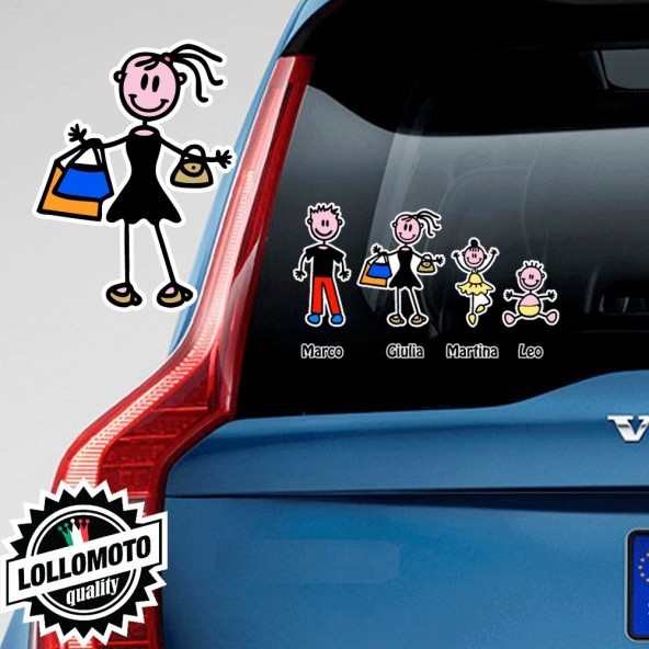 Mamma Shopping Adesivo Vetro Auto Famiglia Stickers Colorati