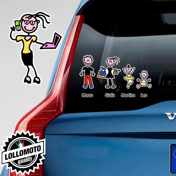 Mamma Computer Adesivo Vetro Auto Famiglia Stickers Colorati