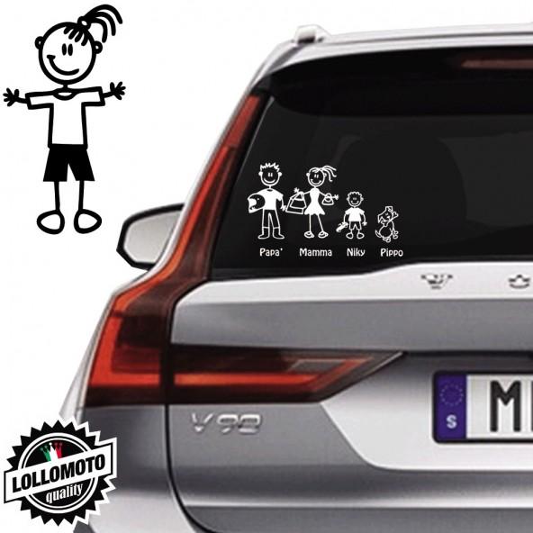 Bimba Con Pantaloni Corti Vetro Auto Famiglia StickersFamily Stickers Family Decal