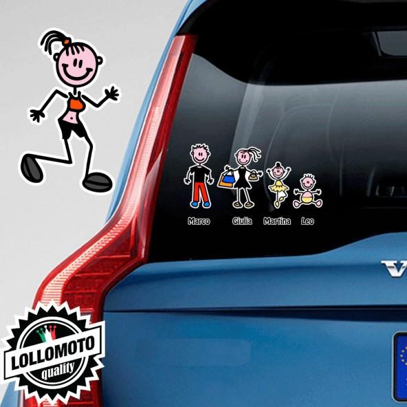 Mamma Che Corre Adesivo Vetro Auto Famiglia Stickers Colorati