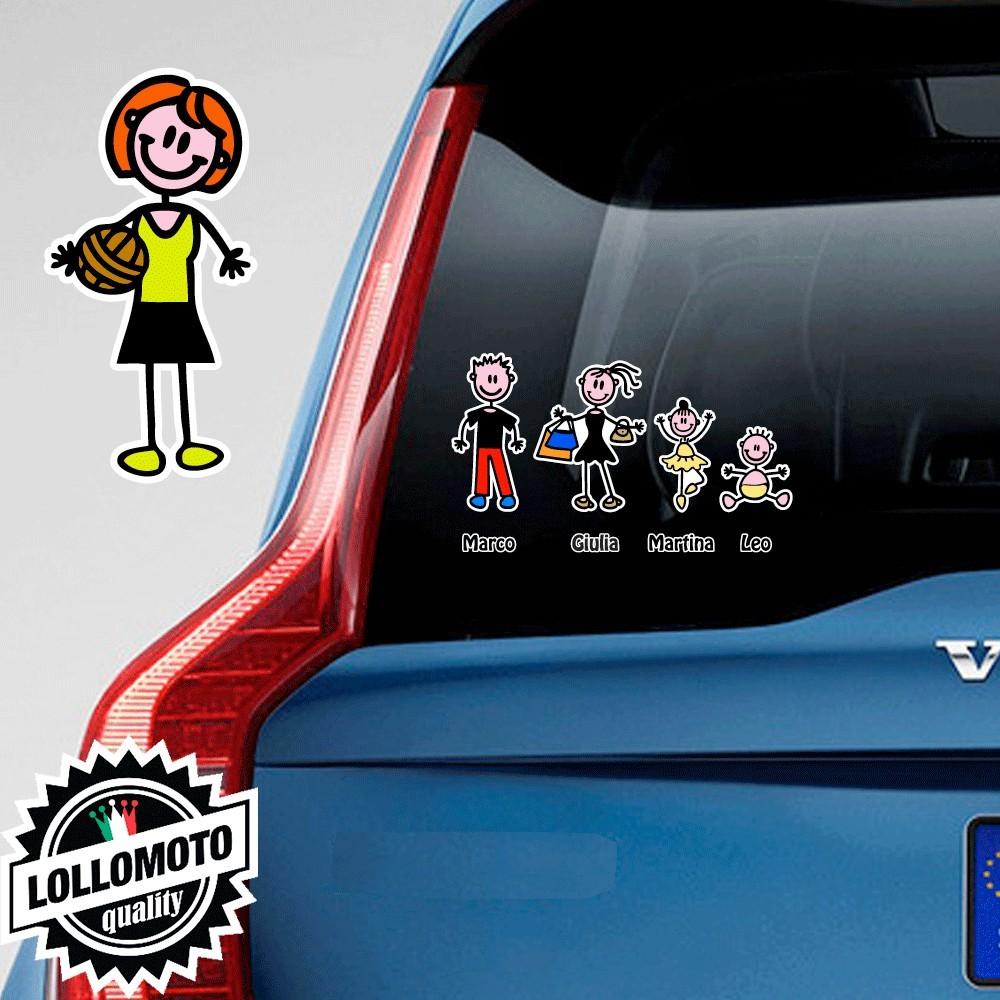 Mamma Pallavolo Adesivo Vetro Auto Famiglia Stickers Colorati