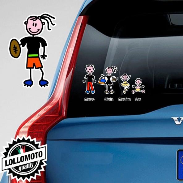 Mamma Con Pallone Rugby Adesivo Vetro Auto Famiglia Stickers