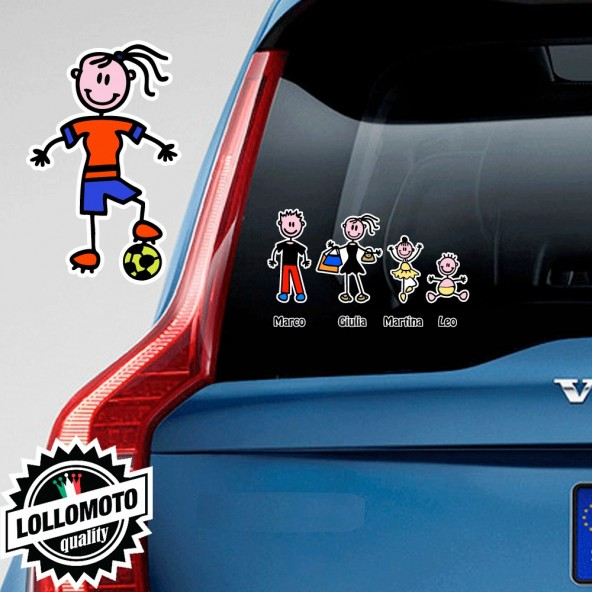Mamma Calciatore Pallone Adesivo Vetro Auto Famiglia Stickers Colorati Family Stickers Family Decal