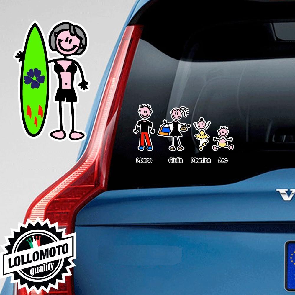 Mamma Tavola Surf Pallone Adesivo Vetro Auto Famiglia Stickers