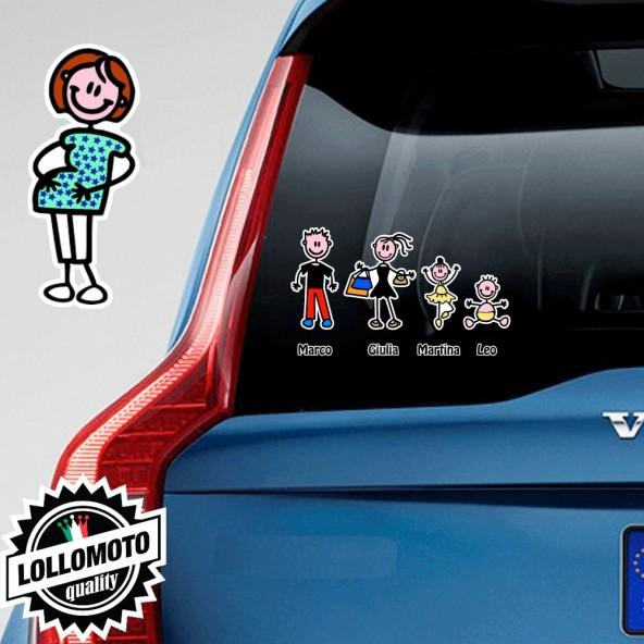 Mamma Incinta Adesivo Vetro Auto Famiglia Stickers Colorati