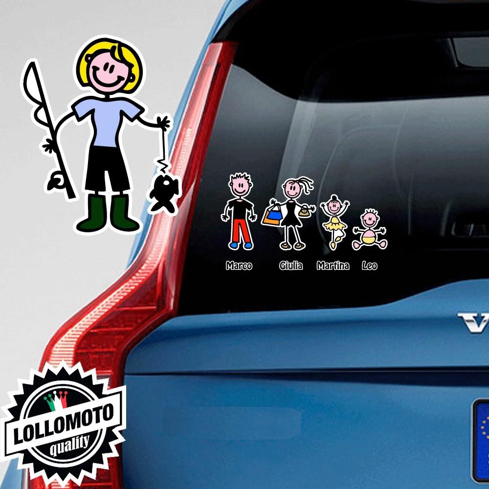 Mamma Pescatrice Adesivo Vetro Auto Famiglia Stickers Colorati