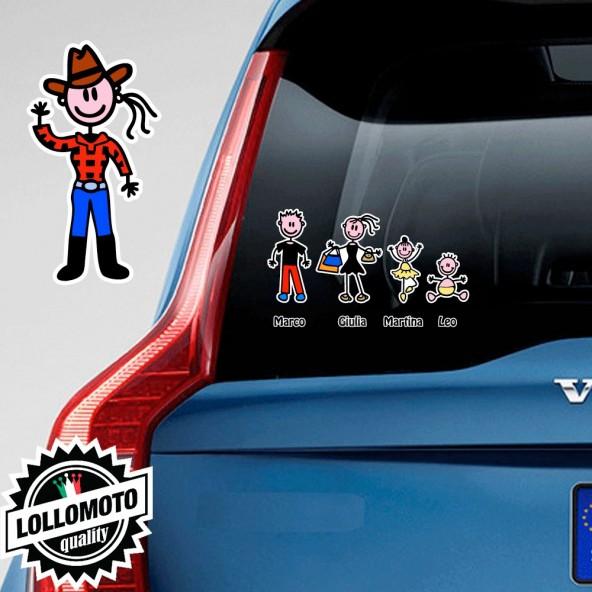 Mamma CowBoy Adesivo Vetro Auto Famiglia Stickers Colorati