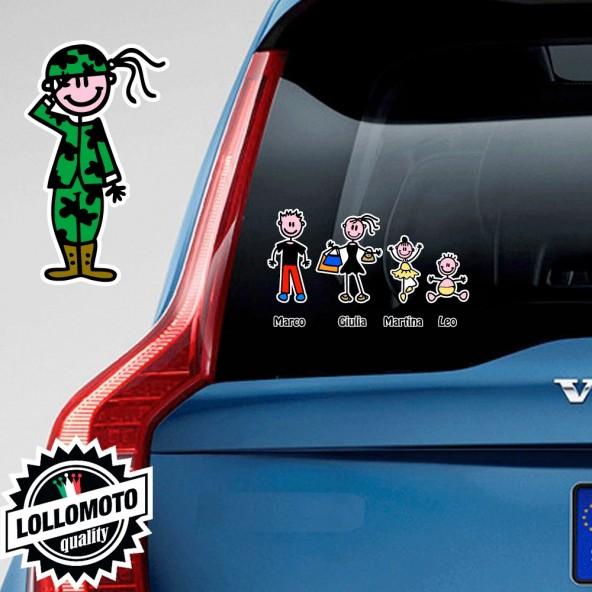 Mamma Militare Adesivo Vetro Auto Famiglia Stickers Colorati
