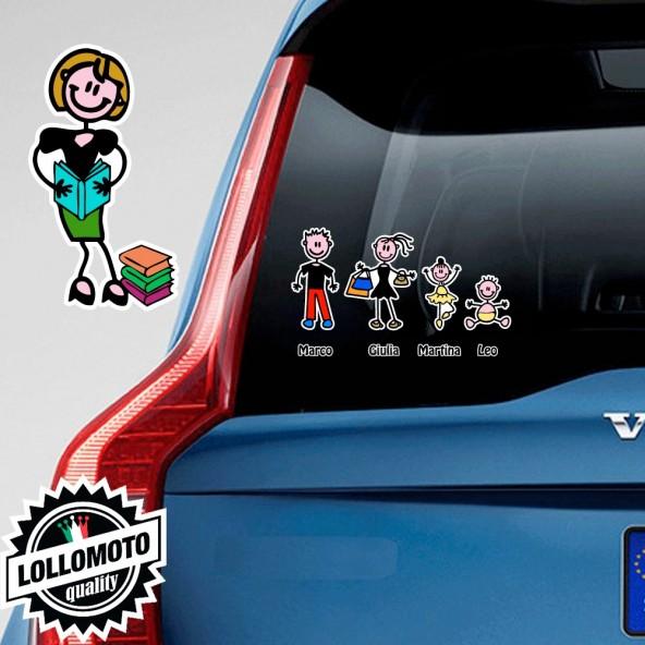 Mamma Con Libri Adesivo Vetro Auto Famiglia Stickers Colorati