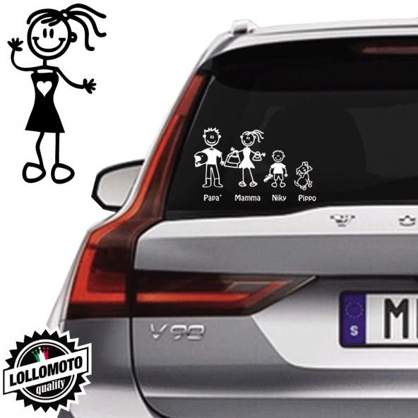 Bimba Con Vestito Vetro Auto Famiglia StickersFamily Stickers Family Decal