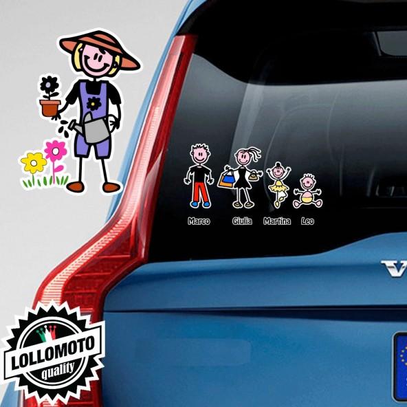 Mamma Giardiniera Adesivo Vetro Auto Famiglia Stickers Colorati