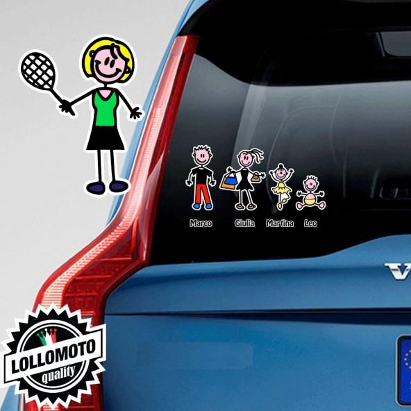 Mamma Tennista Adesivo Vetro Auto Famiglia Stickers Colorati