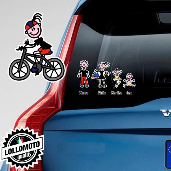 Mamma Ciclista Adesivo Vetro Auto Famiglia Stickers Colorati