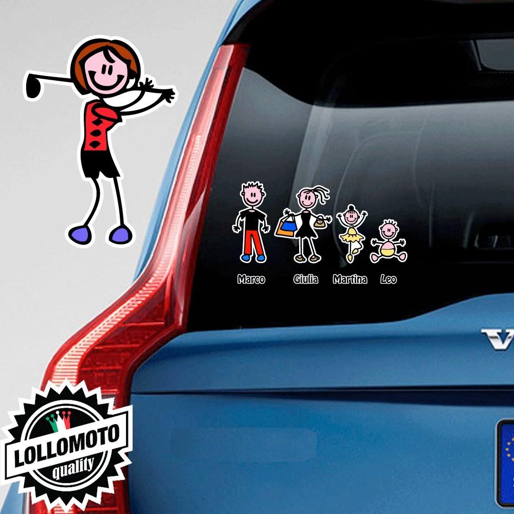 Mamma Golf Adesivo Vetro Auto Famiglia Stickers Colorati Family