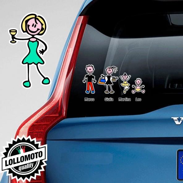 Mamma Che Brinda Adesivo Vetro Auto Famiglia Stickers Colorati
