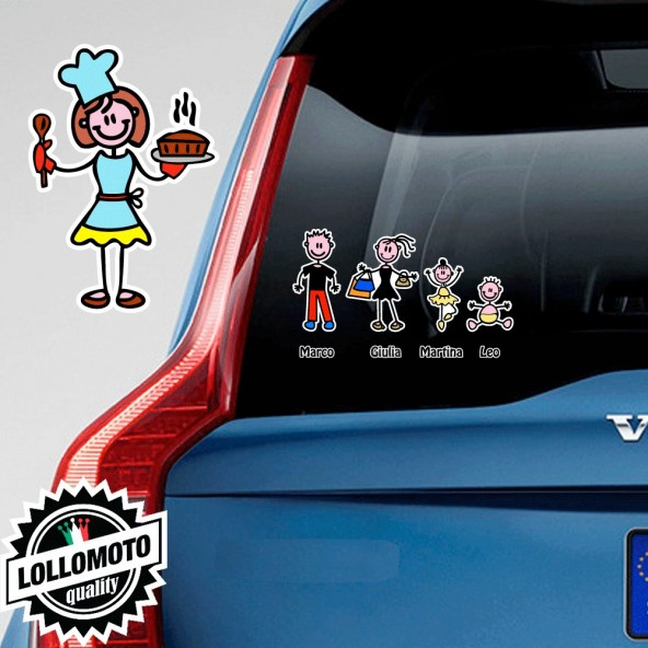 Mamma Cuoca Adesivo Vetro Auto Famiglia Stickers Colorati