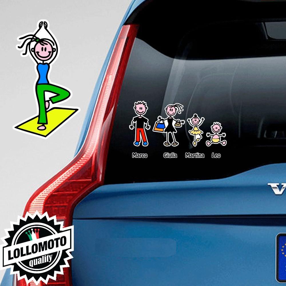 Mamma Yoga Adesivo Vetro Auto Famiglia Stickers Colorati Family