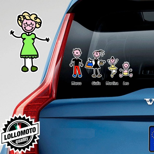Nonna Con Vestito Adesivo Vetro Auto Famiglia Stickers Colorati