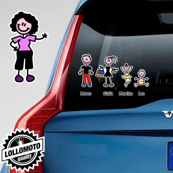 Nonna Con Capelli Neri Adesivo Vetro Auto Famiglia Stickers