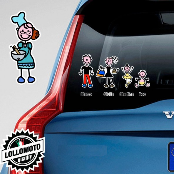 Nonna Cuoca Adesivo Vetro Auto Famiglia Stickers Colorati