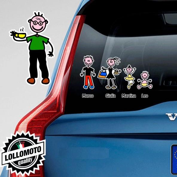 Nonno Con Caffè Adesivo Vetro Auto Famiglia Stickers Colorati